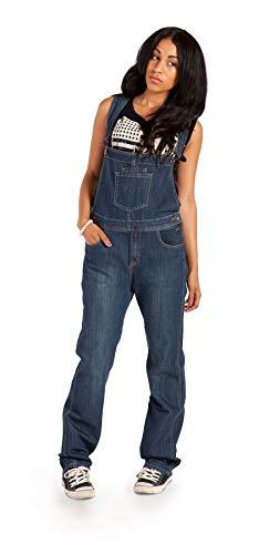 Damen-Latzhose Dark Wash Blau Denim Jeans-Latzhose Frauen,Gr. 40