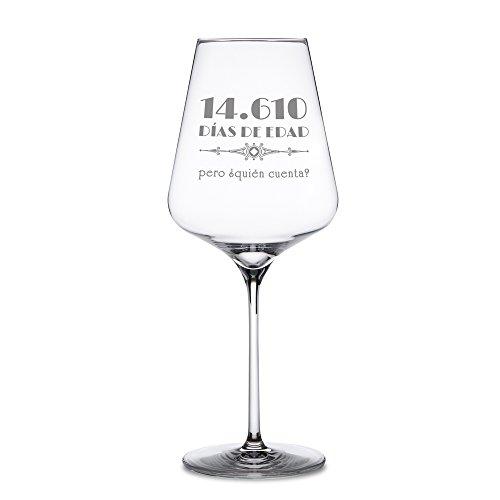 """Copa de vino tinto con grabado – Por el 40 cumpleaños – """"14.610 días de edad pero ¿quién cuenta?"""" – Estándar – Regalos para hombres y mujeres – Ideas de regalo divertidas y originales – Regalos para amantes del vino tinto"""