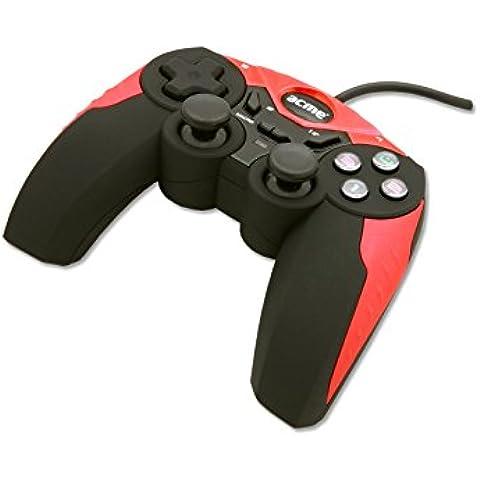 Acme Made GA02 - Volante/mando (Gamepad, PC, Analogue / Digital, Alámbrico, USB 2.0, Negro, Rojo)