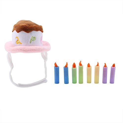 FTVOGUE Verstellbare dekorative glänzende Spitze Haustier Hut Mütze mit Haarballen für Hund Katze(S-01) (Dekorative Hüte Spitze)