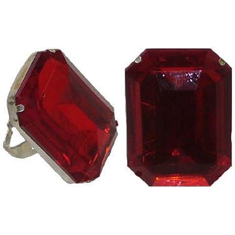 Anello con pietra in vetro rosso prezzo HIT