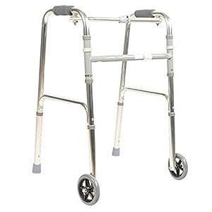 WZHWALKER Gehhilfe Für Ältere Menschen, Gehhilfe Aus Aluminiumlegierung, Gehhilfe Für 2 Rollen, Silber