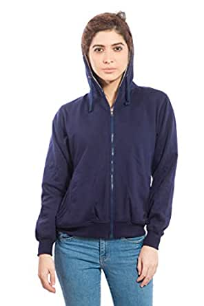 Alan Jones Clothing Women's Cotton Full Sleeve Solid Sweatshirt (Navy, Small)