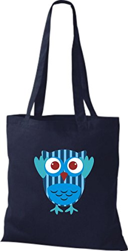 ShirtInStyle Jute Stoffbeutel Bunte Eule niedliche Tragetasche mit Punkte Owl Retro diverse Farbe, blau