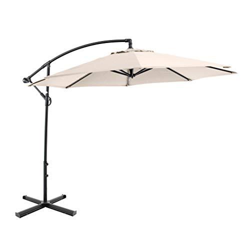 SORARA Parasol Déporté Jardin | Beige/Sable| Ø 300 cm / 3m | Rond CHEPRI | Commande à manivelle | INCL. Pied en Croix pour Parasol