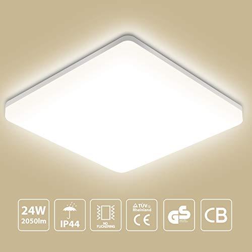 Oeegoo LED Deckenleuchte Badlampe, 24W 2050lm, Bürodeckenleuchte IP44 Badezimmerlampe Deckenlampe für Bad Balkon Wohnzimmer Schlafzimmer 33 * 33 * 4.8/CM 4000K (Led-licht-lampe 100 Watt)