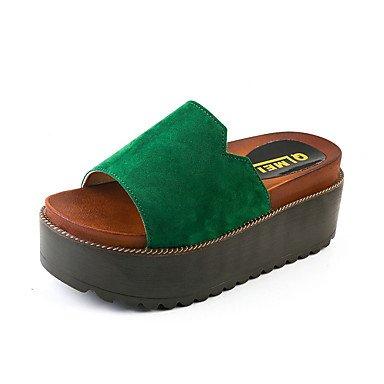 zhENfu donna pantofole & amp; flip-flops sandali Comfort Suede Estate Casual Walking Split Joint tacco piatto Armata Nera Verde Verde 2A-2 3/4in Green