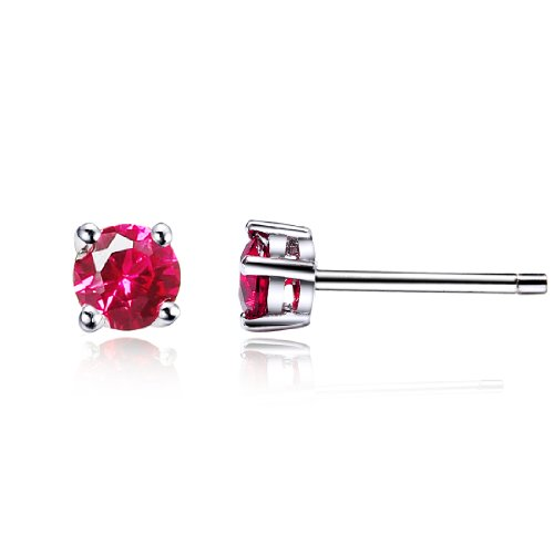 da donna swarovski elements rosso rotonda stile classico argento 925 orecchini