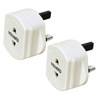 VGUARD [2 Stück] UK Reiseadapter, GB England 2 Pin auf 3 Pin 1A Sicherung Elektrischer Rasierer Electric Shaver Razor Adapter Stecker Toothbrush Zahnbürste Plug Steckdose Konverter - Weiß