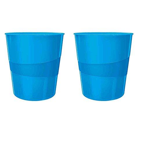 Leitz WOW Papierkorb, 15l, Polystyren (2er Pack, blau metallic)