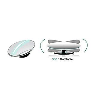 2Stück Blind Spot Spiegel, 5,1cm rund HD Glas rahmenlose konvex Rückspiegel mit 360° Drehbar + 30° Sway, verstellbar Weitwinkel Rückspiegel für alle Autos