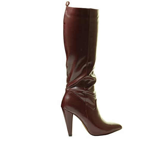 Black Sexy Heels Ankle Womans Pull Calf Stretch High Shiny Boots Red New Burgandy Zip Knee On YxdqP4Yw