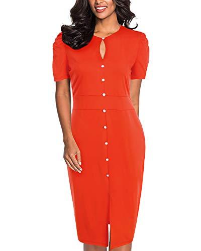 SOLERSUN Sommerkleider für Frauen, Damenmode Kurzarm Vintage Retro Keyhole Tasten Taille Formales Bleistiftkleid Orange XL