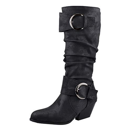 Sunnywill Stiefel Damen Schwarz Leder Mit Absatz Schuhe Elegant Herbst Boots Blockabsatz Round Toe Slouch Buckles Quadratische Ferse Mittelrohr -