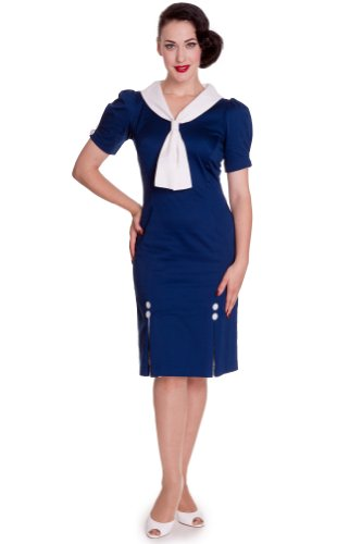 Hell Bunny dell'abito JACKIE DRESS 4332 navy blu navy Large