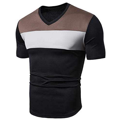 TEBAISE T-Shirt Herren Kurzarm Shirts Mit Streifen Und V-Ausschnitt Basic V-Neck Oversize Kurzarmshirt Sweatshirt 2019 Sommer Persönlichkeit Mode Beiläufig Top Bluse Schwarz