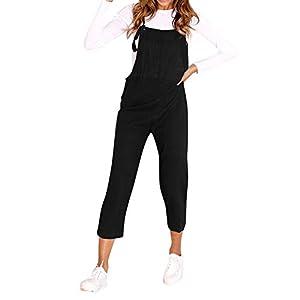 RYTEJFES Petos De Pantalones para Mujer Mono De Trabajo Color Liso Strap Babero De Pantalones Sueltos Mono De Nueve Pantalones Jumpsuit