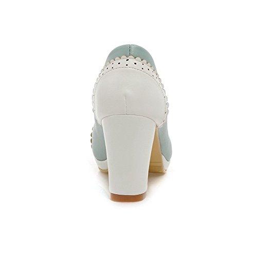 VogueZone009 Femme à Talon Haut Couleurs Mélangées Tire Matière Souple Rond Chaussures Légeres Bleu
