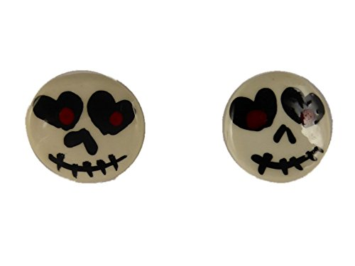 Ohrringe Ohrstecker Stecker Halloween Gothic Smily Smiley Zombie Kunststoff 7836