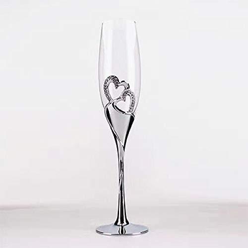 LAJIXIAOBAI Herzform Splitter Champagner Flöten Hochzeit Toasten Glaswaren 200ml Champagner Glas Metall Ständer Hochzeitsgeschenke Wein Golets