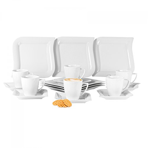 Kaffeeservice Opera 36-teilig eckig Porzellan für 12 Personen weiß geschwungene Kanten