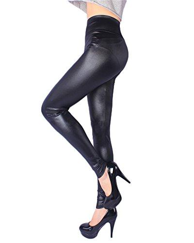 Damen Große Größe Leggings in Lackleder-Optik, Kunstleder, glänzend mit langem Bein Schwarz XL