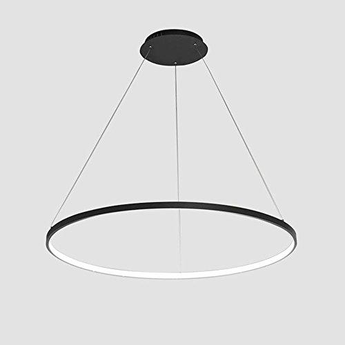 40W LED Weiß Licht Pendelleuchte 1 Ringe Modern Runden Hängeleuchte Schwarz Acryl Lampenschirm Metall Material Hängelampe Wohnzimmer Lampe Esstisch Leuchte Schlafzimmer Pendellampe Φ60cm (Runde Sockel-esstisch Schwarze)