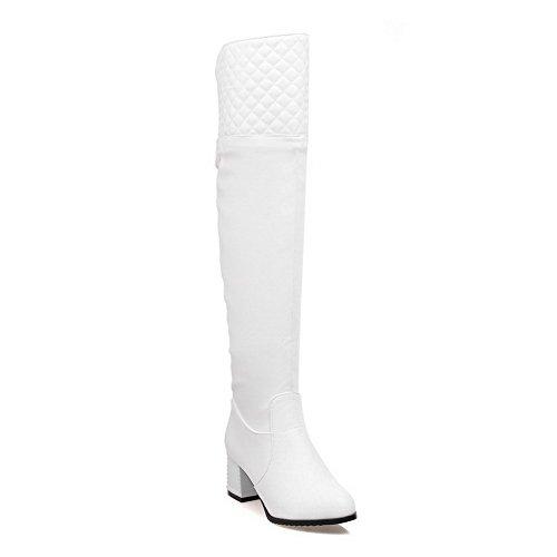 VogueZone009 Damen Mittler Absatz Metallisch Rund Zehe Pu Leder Reißverschluss Stiefel, Weiß, 40 (Runde Zehe Leder Stiefel)