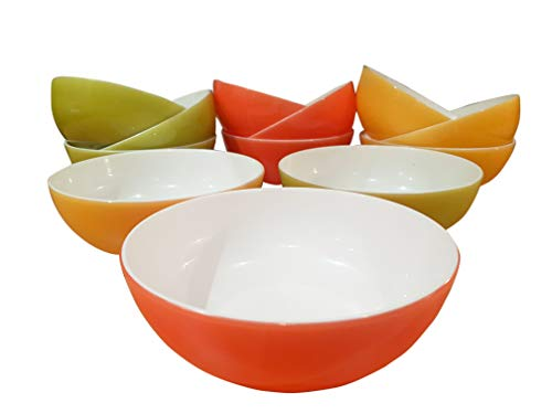 Roch Valley Homestyle - Juego de 4 cuencos de sopa (plástico, aptos para microondas y lavavajillas), 3 colores a elegir, rosso, 165mm x 65mm deep
