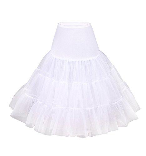 Robe tutu blanche Jupon ann�es 50 vintage en tulle raffin� Rockabilly Petticoat longueur 66cm/26' pour grande taille L - XL