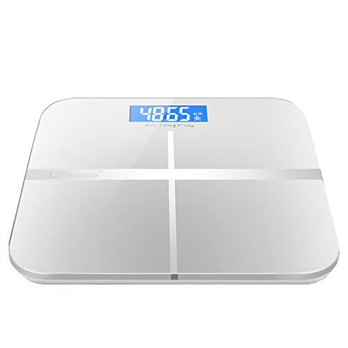 Personenwaagen Präzise Badezimmer Elektronische Waagen Home Blau Hintergrundbeleuchtung LCD Monitor USB Lade Gewichtsverlust Wiegende Meter Display Power 30 × 30 cm 180kg Kapazität (Farbe : Weiß)