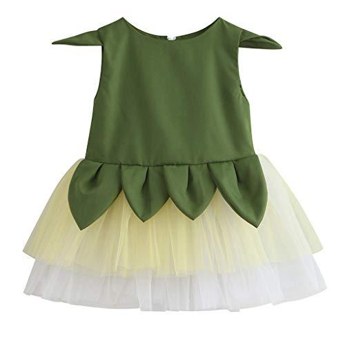 Lazzboy Kleinkind Kinder Baby Mädchen Doppel Gaze Tüll Prinzessin Kleid Blatt Thema Outfits Hosenträgerrock-gesamt Für Mädchenpuppen(Armeegrün,Höhe110)