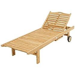 glasshop24Chaise longue en bois de teck/200cm de long avec roulettes/pour l'extérieur/jardin/bain de soleil