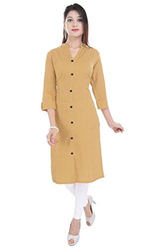 Saubhagyawati Fashions Women Solid Wood Button 100% Cotton Beige 3/4 Folding Sleeve...