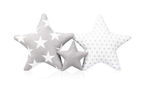 3 Pack Kissen Set Stern Sternchen Zierkissen ca. 60 cm / 28cm Kinderzimmer Zimmer Deko Sternkissen Baby Dekokissen mit Füllung für Schlafzimmer Babyzimmer Kinderbett Mädchen Jungen SET12