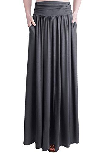 Loxdonz Frauen hohe Taille raffen Maxi Rock Falten uber Lange Röcke mit Taschen (Large / (EU 42/44), Holzkohle) -