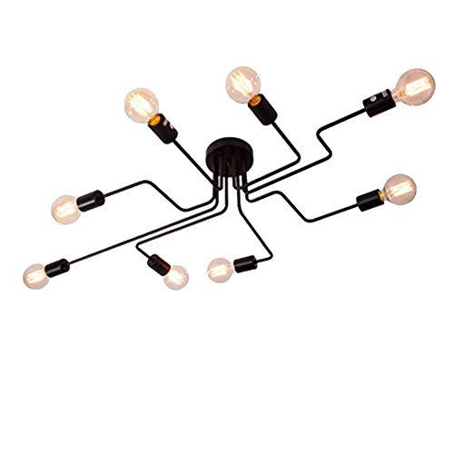 CARYS Plafonnier Lustres Moderne Industriel Design Luminaire Plafonnier 8 Lampe de suspension Métal Noir E27 Pour Enfant Chambre Cuisine Salon Couloir Loft
