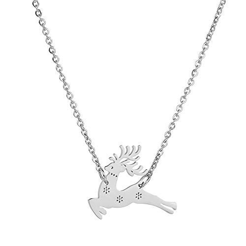 AchidistviQ Halskette für Damen, niedlich, Schlichtes Geweih, Elch-Anhänger, Lange Schlüsselbein Silber -