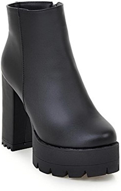 Odomolor Damen Hoher Absatz Rund Zehe Weiches Material Reißverschluss Stiefel