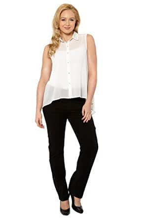 Roman Women's Top Studded Detail Embellished Collar Tops White Ivory Size 22