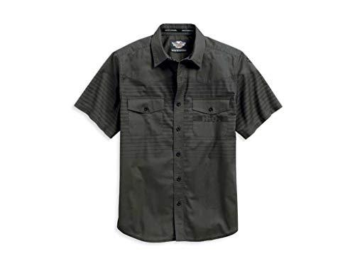 Harley Davidson Hemd Multistriped Olive, M - Snapdown Shirt