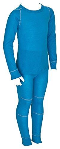 icefeld® - atmungsaktives Thermo-Unterwäsche Set für Kinder - warme Wäsche aus langärmligem Oberteil + langer Unterhose: blau in Größe 158/164