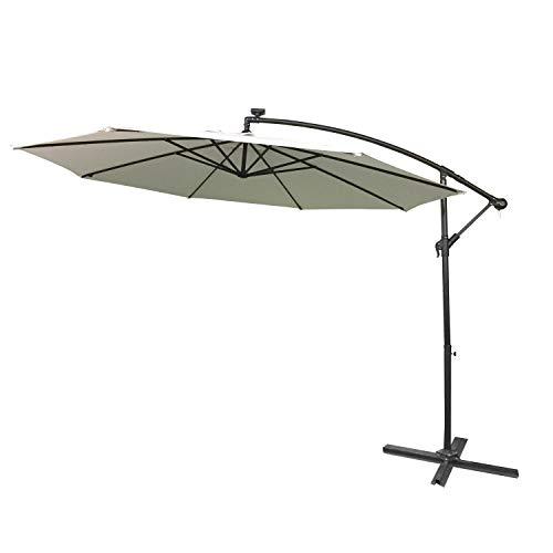 HENGMEI Ø300cm ALU Sonnenschirm Gartenschirm Ampelschirm Strandschirm Kurbelschirm Neigbar Marktschirm Terrassenschirm mit UV Schutz 40+, mit Solar LED (Ø300 cm mit LED, Beige)