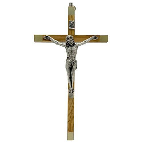 Wandkreuz Olivenholz Natur Kruzifix modern Christus Körper Metall Silber Enden goldfarben 17 x 9,5 cm Schmuckkreuz Handarbeit