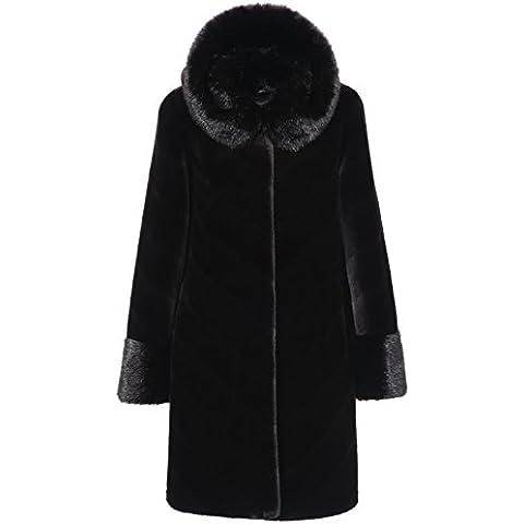Adelaqueen Valerie Stile Media Lunghezza Visone Faux Fur Coat Donne Nero