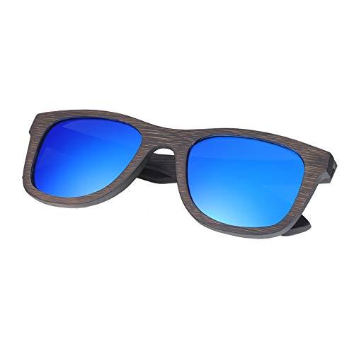 Zbertx Neue Bambus Sonnenbrille Männer Holz Sonnenbrille Frauen Designer Spiegel Original Holz Brille,Blau
