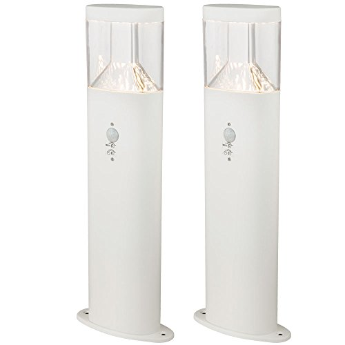 2er Set LED Steh Leuchten Bewegungs Melder Garten Weg Beleuchtungen Edelstahl Sockel Lampen weiß