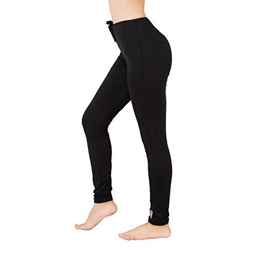 H.MILES Damen Yoga Sporthose Fitnesshose Running Workout Leggings mit Innenfleece Fleece Leggin Thermo-Leggings Schwarz