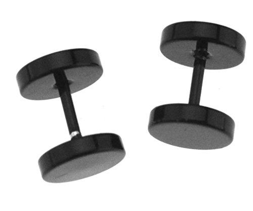 1 Paar Edelstahl Fakeplugs Fake Plug Tunnel Ohrstecker Ohrring Herren