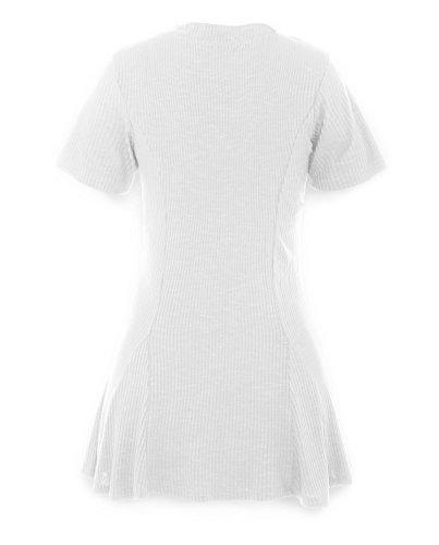 ReliBeauty Damen Kurzarm Lace Up Tops V-Ausschnitt Plissee Falten Lange T-Shirts Weiß